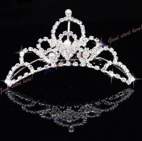 Wedding Bridal Small Waterdrop Style Rhinestone Crown Tiara Hair Comb Pin A24 #TiaraHairComb