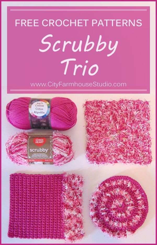 Free Trio Of Crochet Patterns For Scrubbies Dual Duty Scrubber