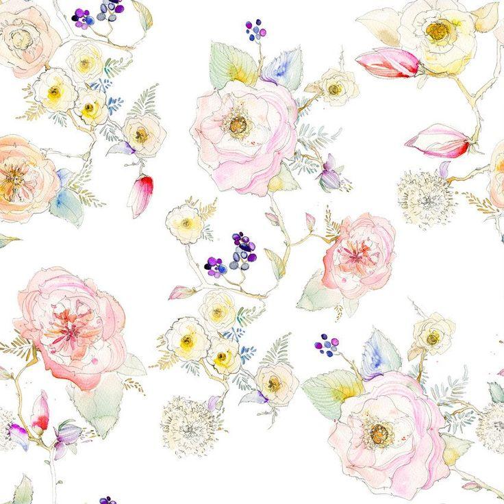 Floral White Vine Watercolor Fabric – KristyRice.com