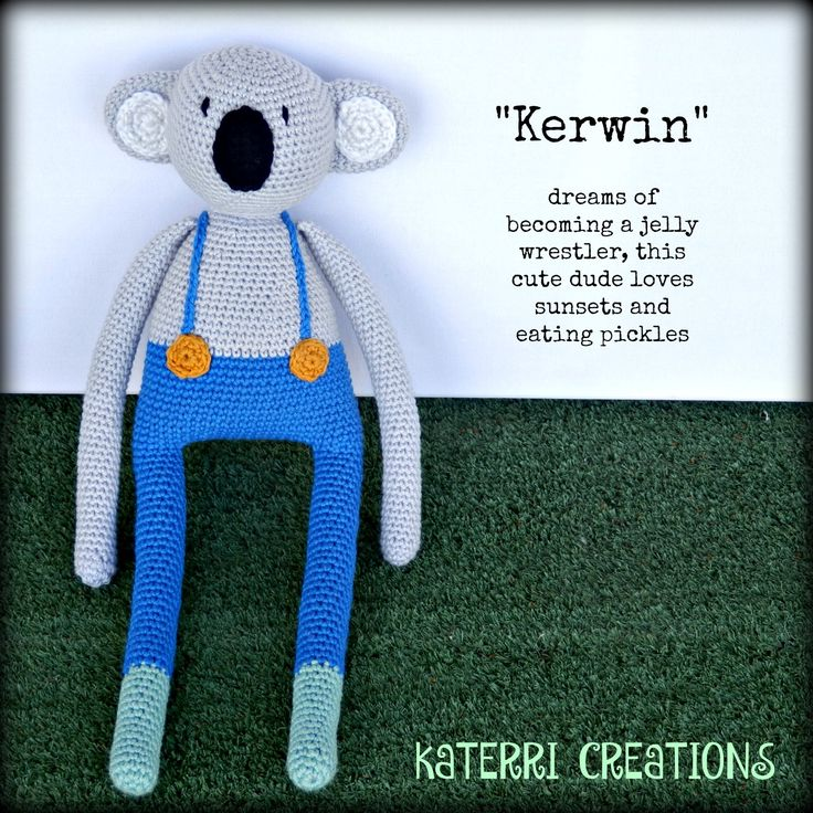 Koala – Big Ears Made with cotton blend yarn and polyester toy filling.  22cm tall $35