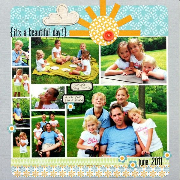 Scrapbook page layout - lots of photos - 9 pictures