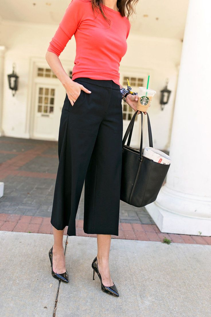 The Miller Affect wearing black Marina pants from Ann Taylor