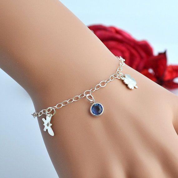 Clover Bracelet, Initial Bracelet, Birthstone Bracelet, Sterling Silver Butterfly Bracelet with Initial, 4 leaf Clover, Good Luck
