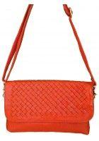 Astie -- Small Orange Leather Crossbody Bag / Handbag