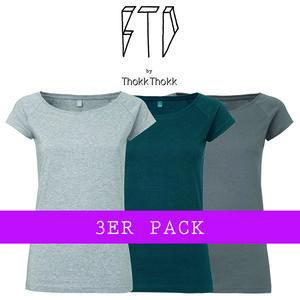 3er Pack BTD03 Damen Raglan T-Shirt BTD by ThokkThokk verschiedene Farben - BTD by ThokkThokk