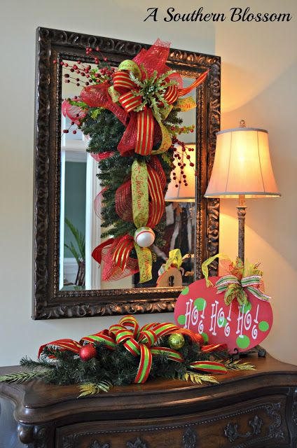 A Southern Blossom ~ Entryway Décor (love the swag on the mirror!)