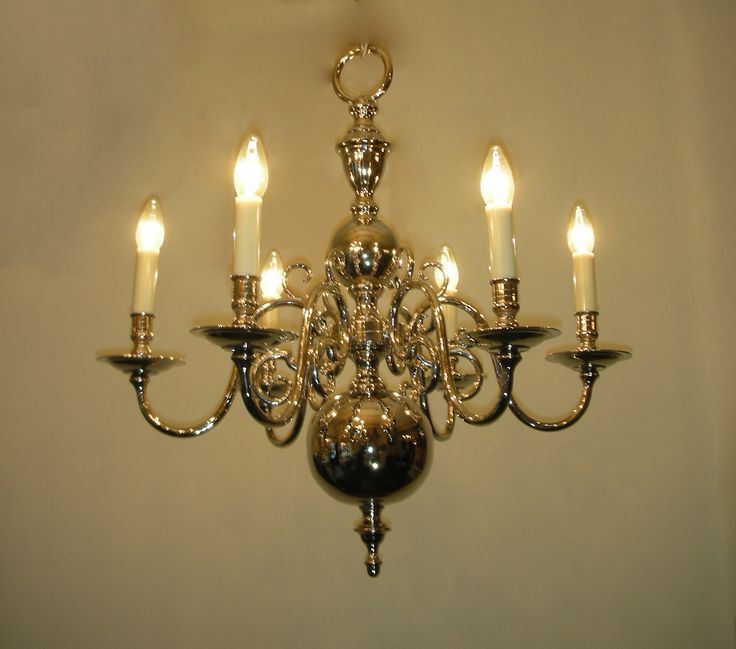 Lustre hollandais nickelé n10663 6 lumières hauteur 67 cm largeur