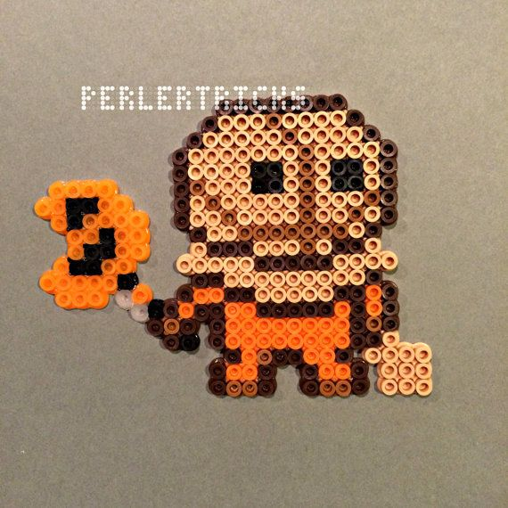 Sam Trick r Treat Perler Bead Magnet with jack-o-lantern lollipop , cute kawii style - halloween horror decor horror magnet or ornament