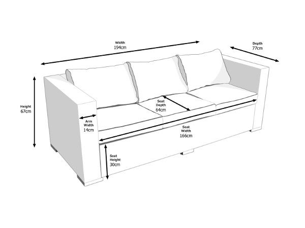 3 seater sofa dimensions – Home and Textiles in 2019 | Sofa ...