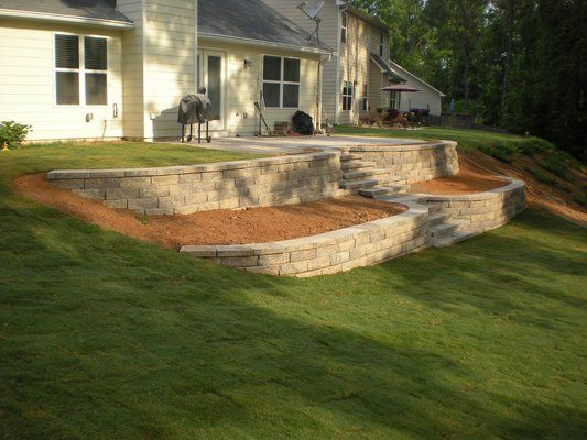 terraced retaining walls | Terraced Retaining Walls w/ Steps