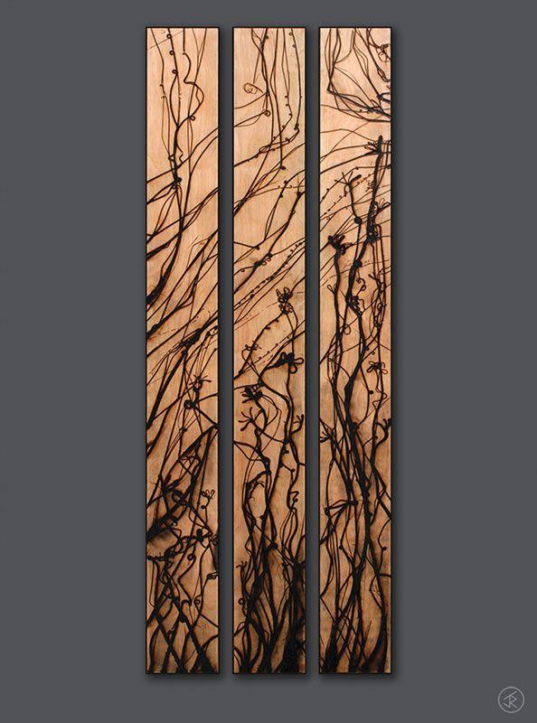 panels with molten glass wood burned design just for the. Black Bedroom Furniture Sets. Home Design Ideas