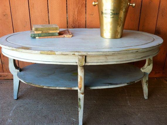 Distressed oval coffee table - Faux Chippy Paint Distressed Cottage Chic Oval Coffee Table