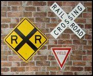 Railroad Crossing Signs-fun-wall-decorations-train-theme-bedrooms. boys bedroom train theme ideas