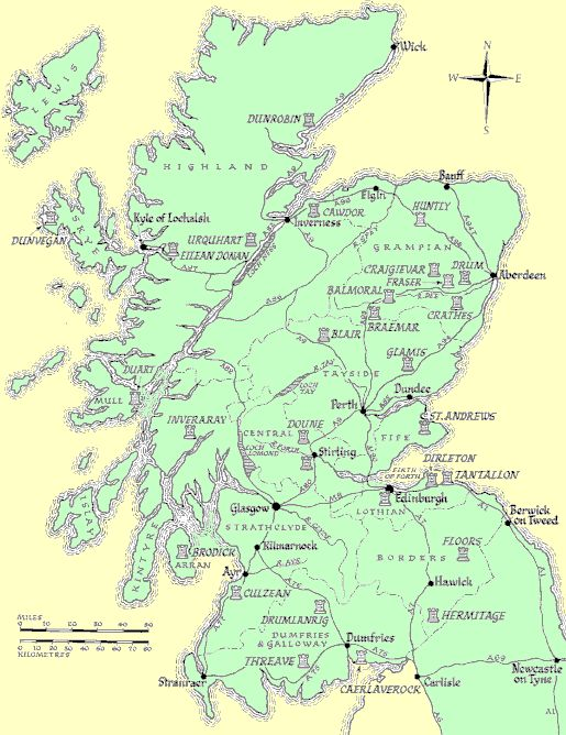 A map of Scottish Castles On my trip we visitied Dunrobin and