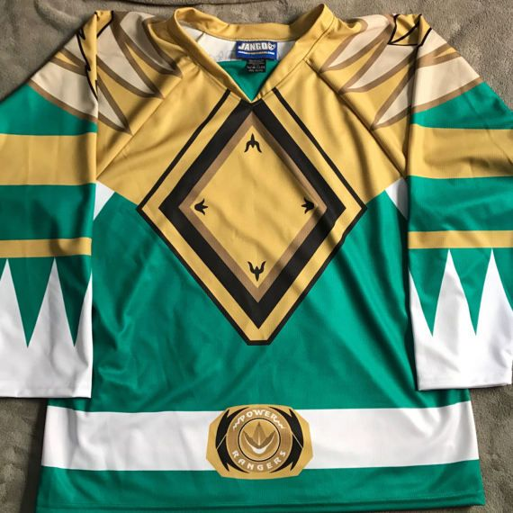 Custom Green Power Ranger Hockey Jersey