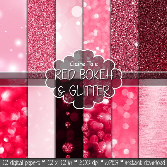"""Red digital paper: """"RED BOKEH & GLITTER"""" with red glitter background and red bokeh background for photographers and scrapbooking"""