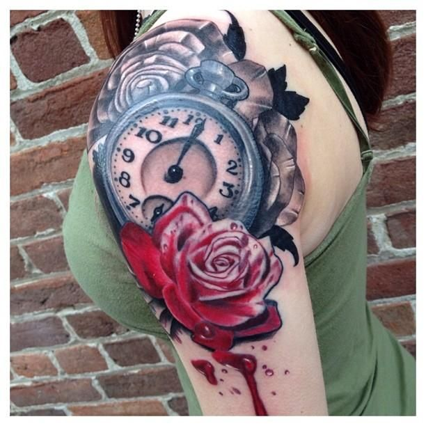 Painted Roses by Mr Jones -  Painting roses inspired by Alice in Wonderland. Pocket watch with painted rose