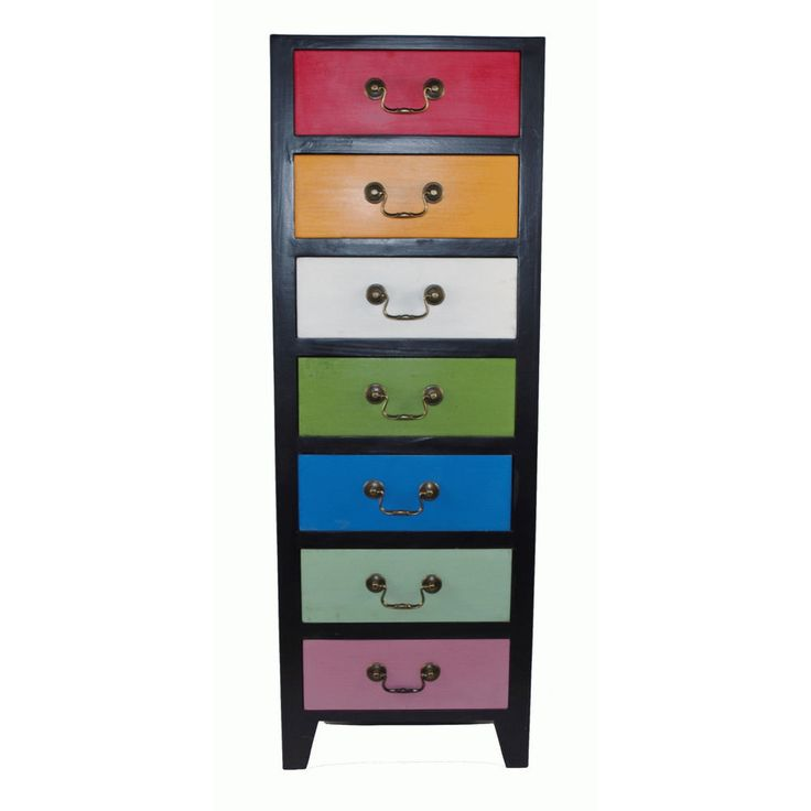 Vintage Chest of Drawers Tall Wooden Unit Display Multicoloured Storage Cabinet