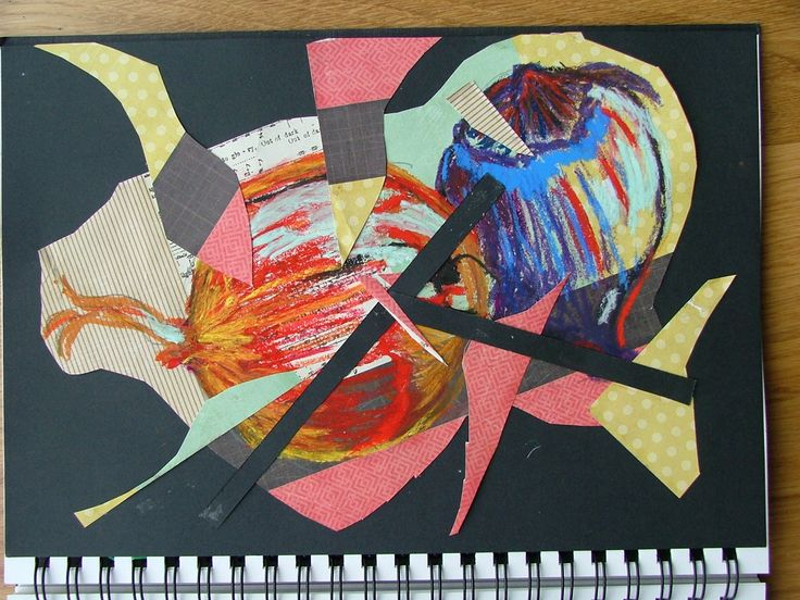 Vicki - collage and oil pastel