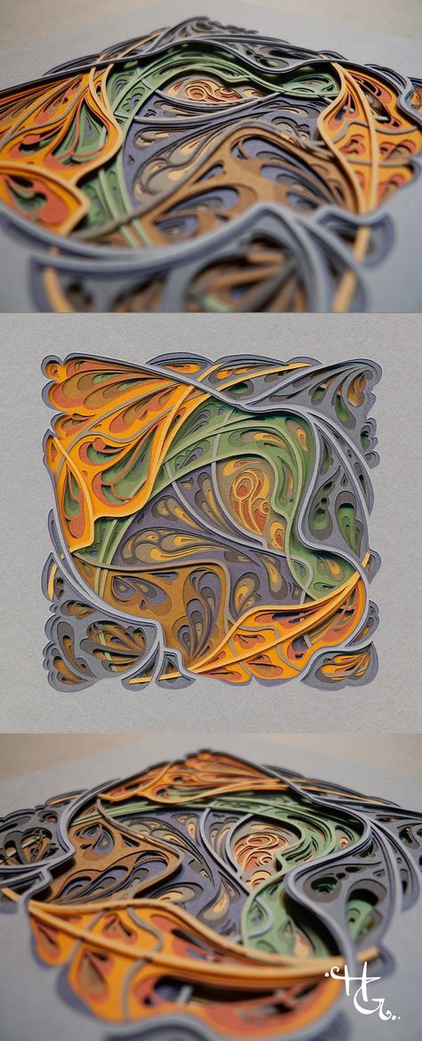 Reflections On The Water, 20 layers of hand cut paper, 3x3 inches, 2017, by Hazel Glass: Part of a series of miniatures. My original papercut art is created with archival artist papers and an xacto blade. Whether the designs are symmetrical or organic, I specialize in meticulous work that requires attention to detail and fine craftsmanship.