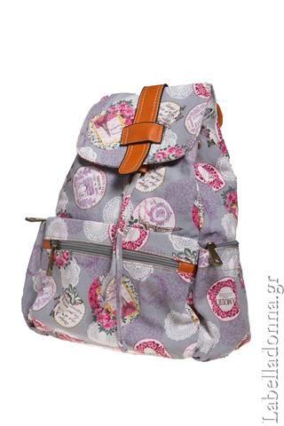 Labelladonna.gr - Backbag vintage floral υφασμάτινη τσάντα-γκρι.