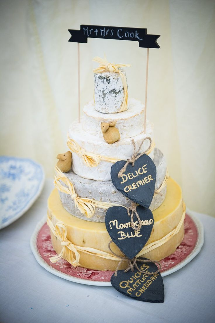 Cheese Cake Tower Stack Back Garden Home Made Jazz Country Wedding http://jamesgristphotography.co.uk