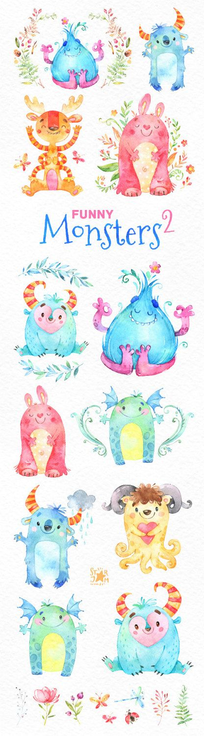 Funny Monsters 2. Watercolor clip art cute by StarJamforKids