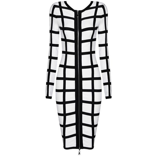 Honey Couture Balmain White Cage Effect Bandage Dress ($149) ❤ liked on Polyvore featuring dresses, long sleeve bandage dress, white long-sleeve dresses, bandage dress, mid calf dresses and white dress