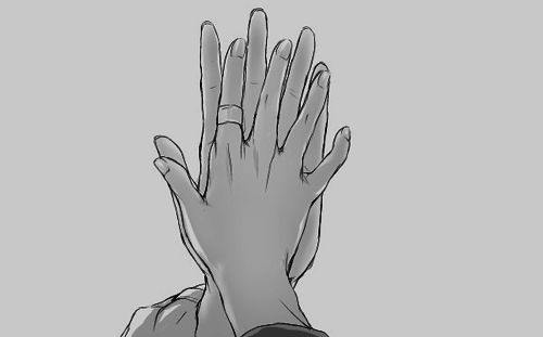 the typical hand touch in a sad scene