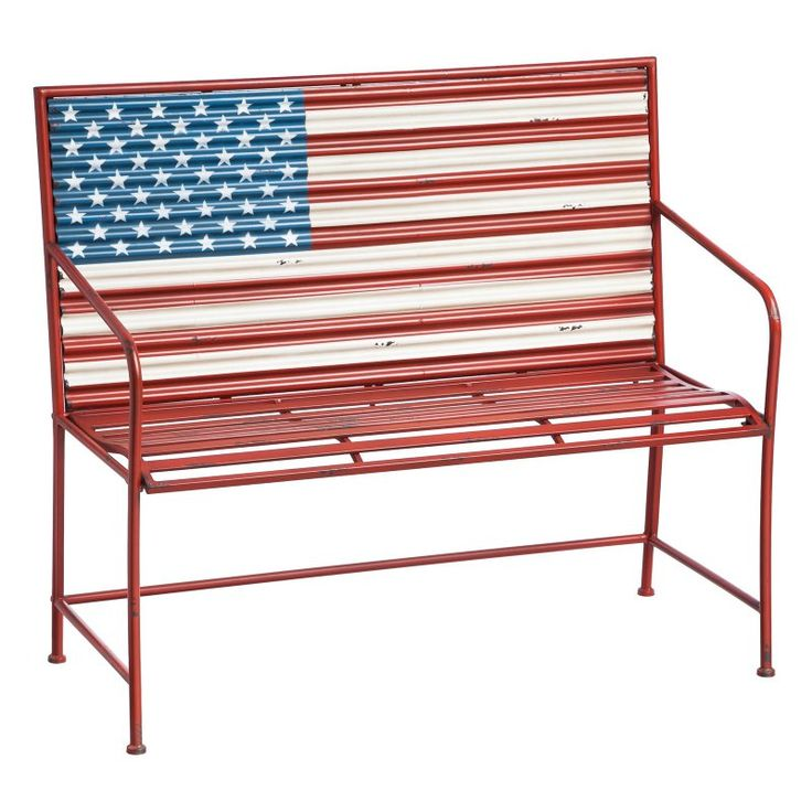 Cape Craftsman American Flag Metal Outdoor Bench   8MB026