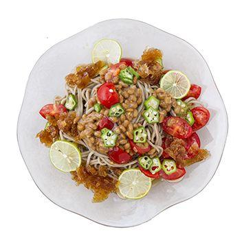 トマト、オクラ、納豆の和えそばの作り方・レシピ   暮らし上手