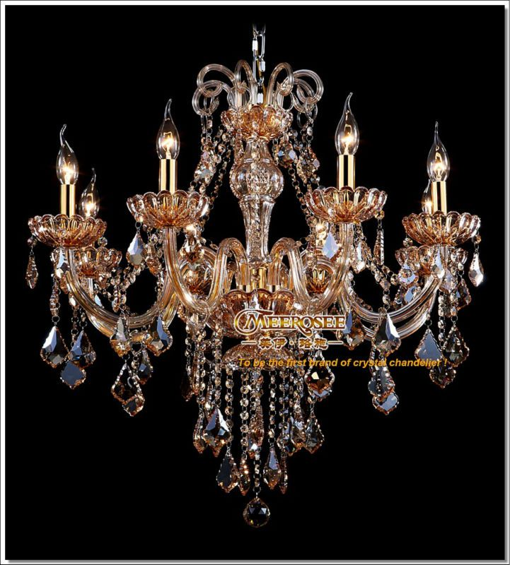 Free Shipping Royal Style Elegance Chandelier Crystal Lamp In Amber Md6609 L8 D720mm H720mm