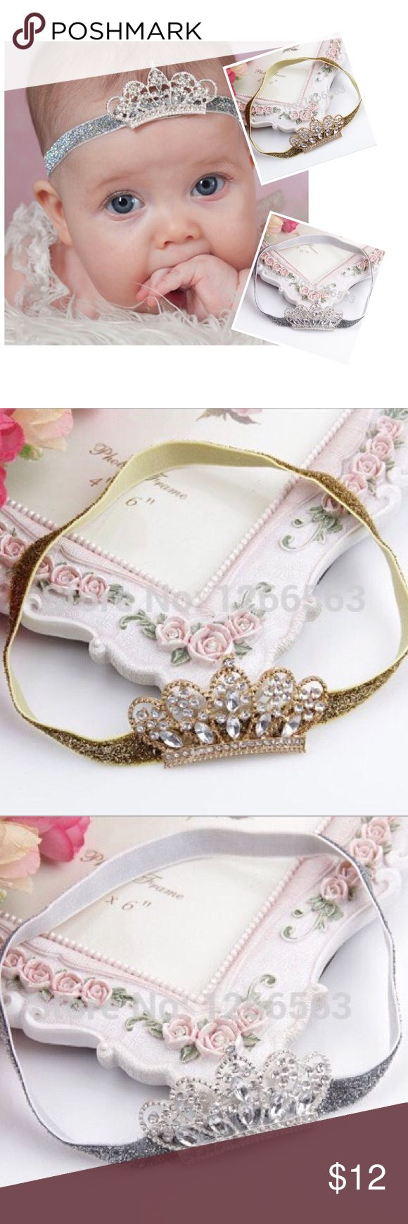 ADORABLE CROWN HEADBAND ADORABLE CROWN HEADBAND ~ Silver or Gold Glitter elastic band with alloy and rhinestone crown  Trades or Holds ✅ Use offer option ❤️Bundles Accessories Hair Accessories