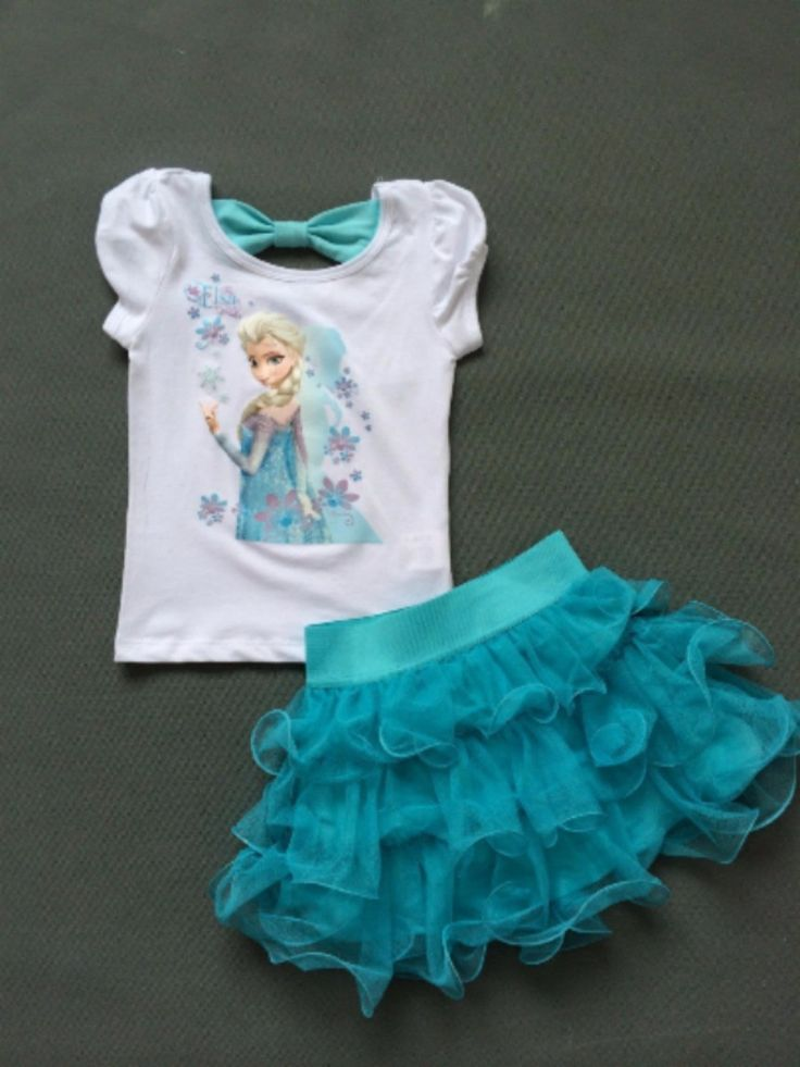Elsa fans will LOVE this adorable Elsa Dress! This set includes an adorable Elsa T-shirt with a cute open tie back and Tutu Skirt. Check out our kids boutique for other Frozen items! Available in size