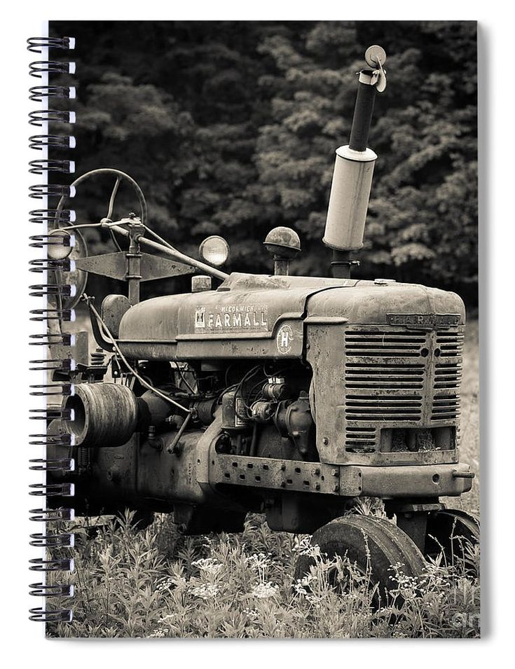 Farm Spiral Notebook featuring the photograph Old Tractor Black And White Square by Edward Fielding
