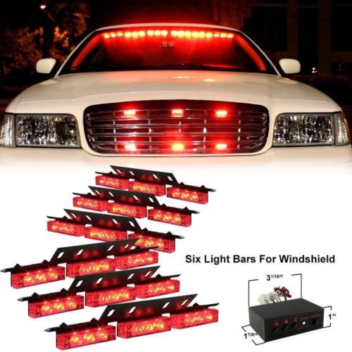 Red-54-LED-Emergency-Hazard-Car-Truck-Vehicle-Police-Grill-Strobe-Lights-Bars