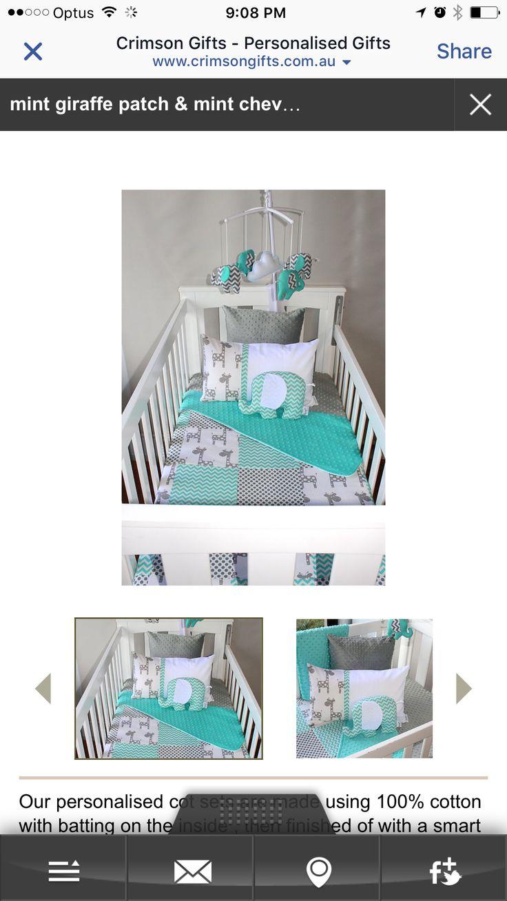 Wicker crib for sale durban - Teal Mint Grey Baby Chevron Cot Sheet Sets Elephants Nursery