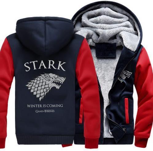 Game of Thrones Direwolf Ghost House of Stark Winter is Coming Jacket Sweatshirts Thicken Hoodie