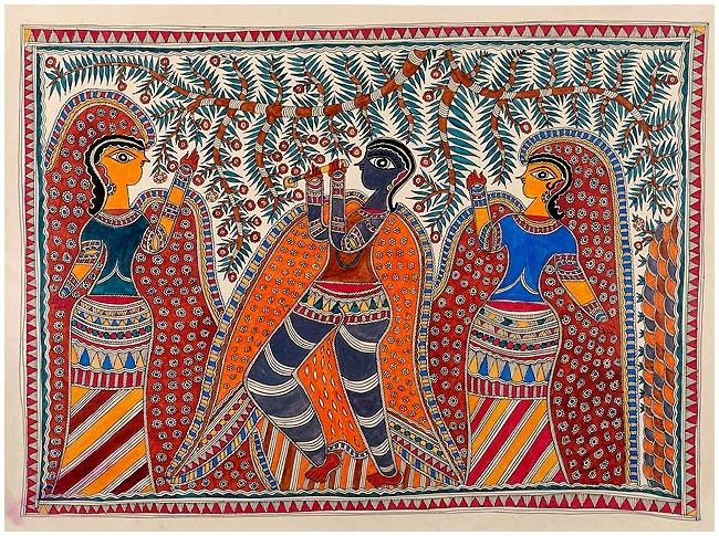Mithila painting. Krishna with Gopis. Unknown painter