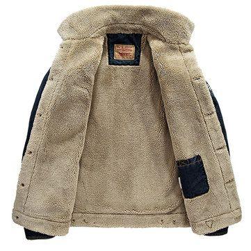 Plus Size Fashion Denim Jacket Multi Pockets Lapel Collar Fleece Jacket for Men