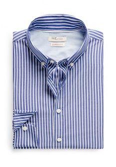 Рубашка Mango Man, цвет: синий. Артикул: HE002EMBYD20. Мужская одежда / Рубашки / Рубашки с длинным рукавом