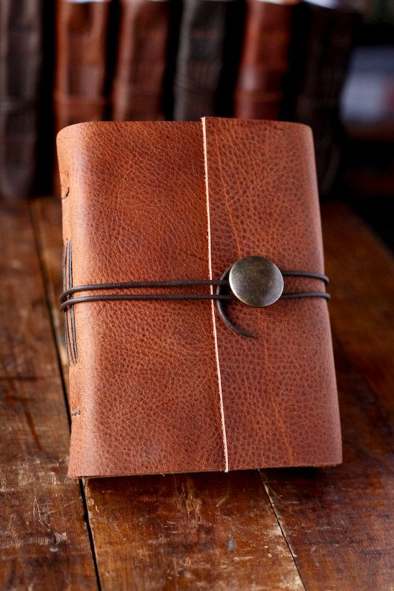Gifts for Crafters: Leather Journal with Button Closure - Travel Journal