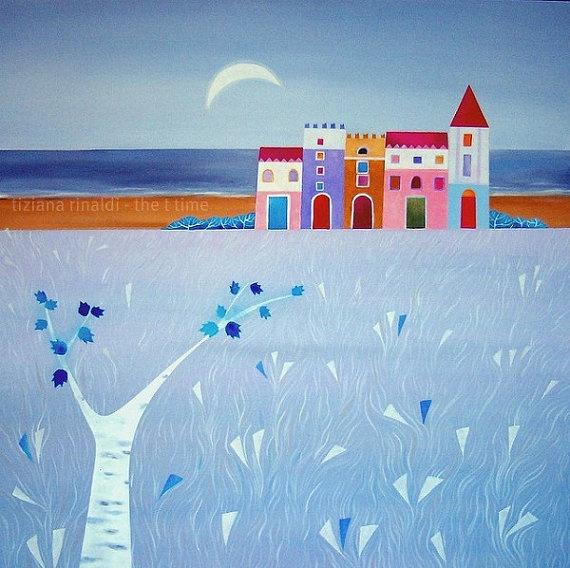 La luna dell'inverno - Tiziana Rinaldi #blue #winter #sea #village #landscape #painting #art