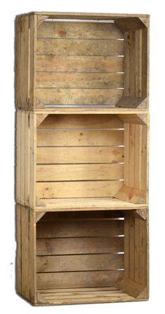Jeu De 3 Vintage Boîte en bois - vieux Caisse de fruits - Boîte à vin - Nature Used Look  http://www.homelisty.com/ou-trouver-caisses-en-bois-cagettes/