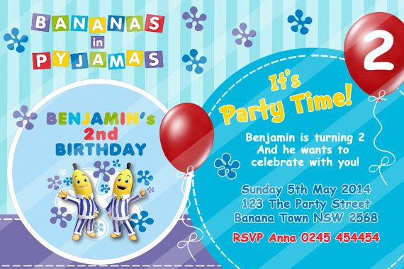 Personalized Personalised Bananas in Pyjamas Theme Personalised Personalized Party Printable Birthday Invitation Invite