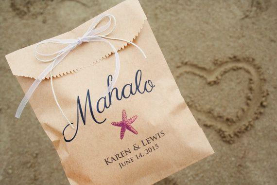 Wedding Favors - Beach Wedding Favor Bags - Mahalo Favor Design - Star Fish Favor - Add a Treat or Candy Buffet - 25 Favor Bags