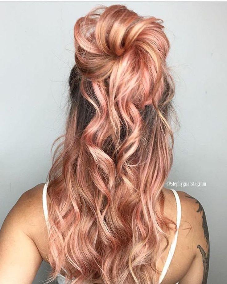 "juju hair lounge on Instagram: ""Peach is the new pink!  Love this peachy rose gold by @stephygnarstagram  #hairinspo"""