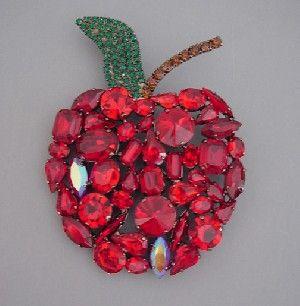 Cristobal red and green rhinestone apple brooch