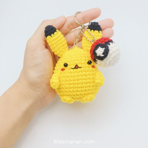 Pokemon Go - free crochet Pikachu and Pokeball pattern by Meemanan.