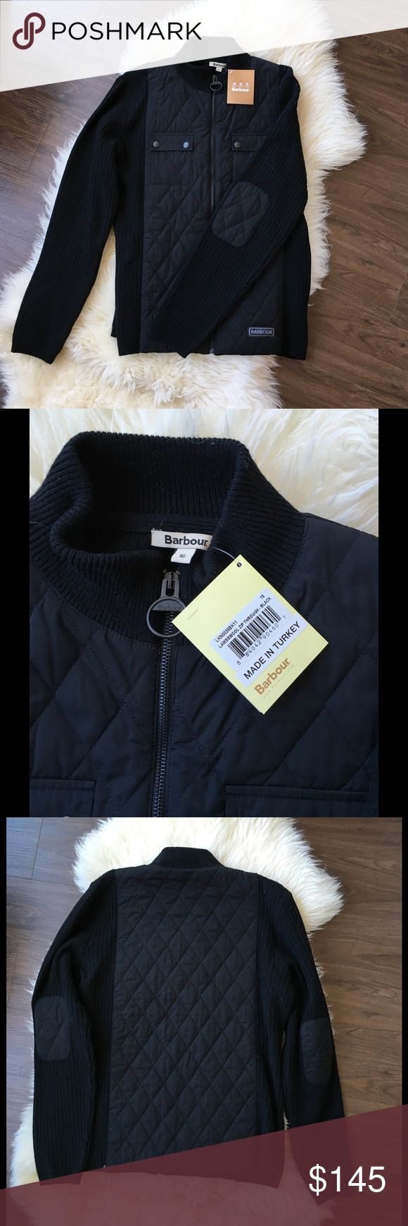 Barbour Jacket Wool and quilted zip up Barbour, two pockets on front. NWT. Barbour Jackets & Coats